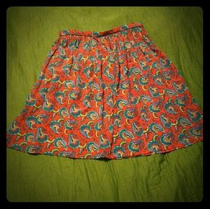 Vtg red plus size Paisley skirt